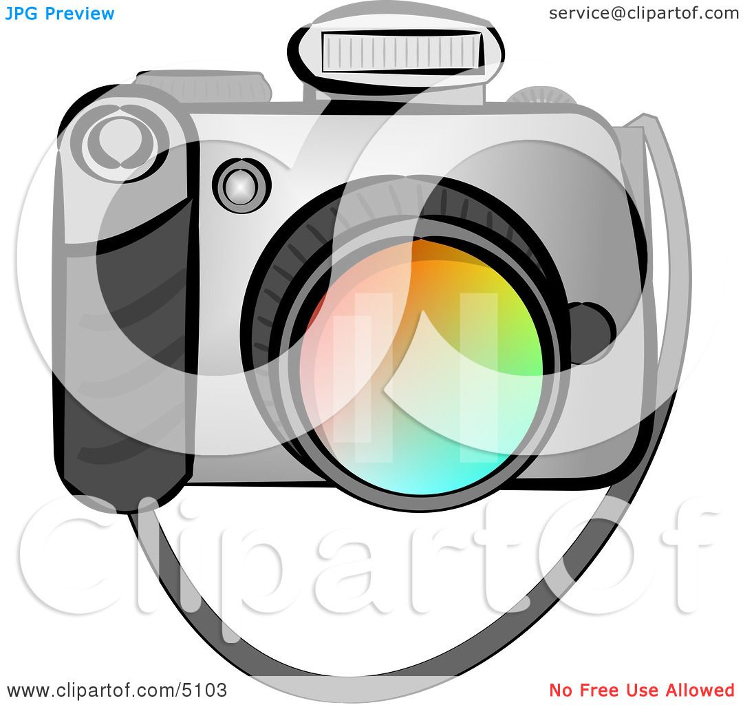 Digital SLR Camera with Flash Clipart by Dennis Cox #5103
