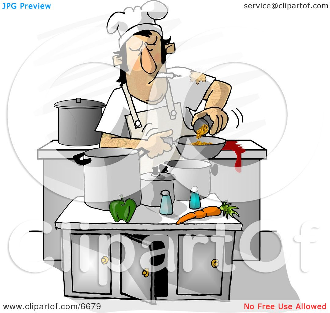 Dirty Chef Smoking While Cooking in a Kitchen Clipart Illustration ...