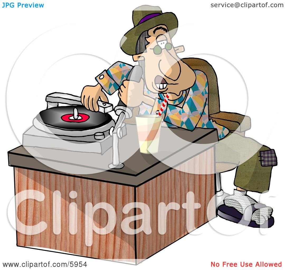 Disc jockey (DJ) Putting a Record On a the Player Clipart Picture ...