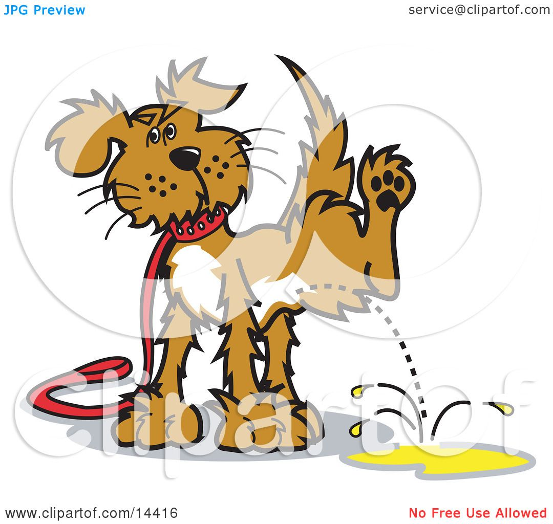 Dog on a Leash, Lifting His Leg to Pee Clipart Illustration by ...
