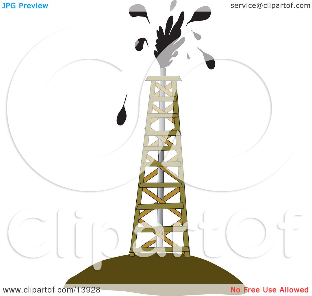 Oil Tower Drawing Drilling Tower Around an Oil