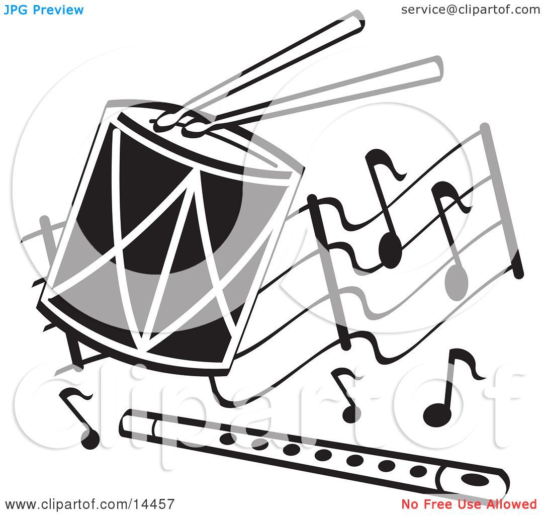 Drumsticks On A Drum And Flute Over Musical Notes Clipart Illustration By Andy Nortnik