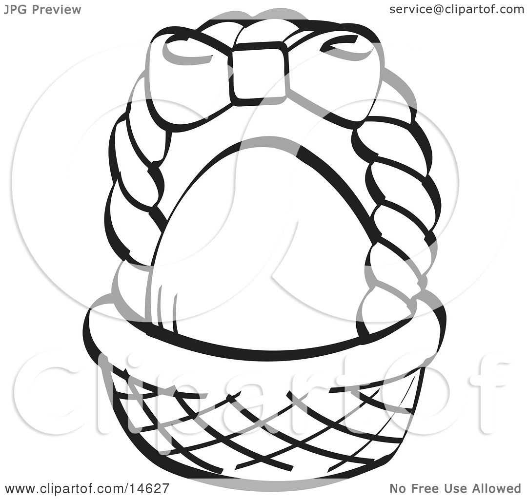 Egg In A Brown Easter Basket With Pink Bow On The Handle Black And White Clipart Illustration By Andy Nortnik