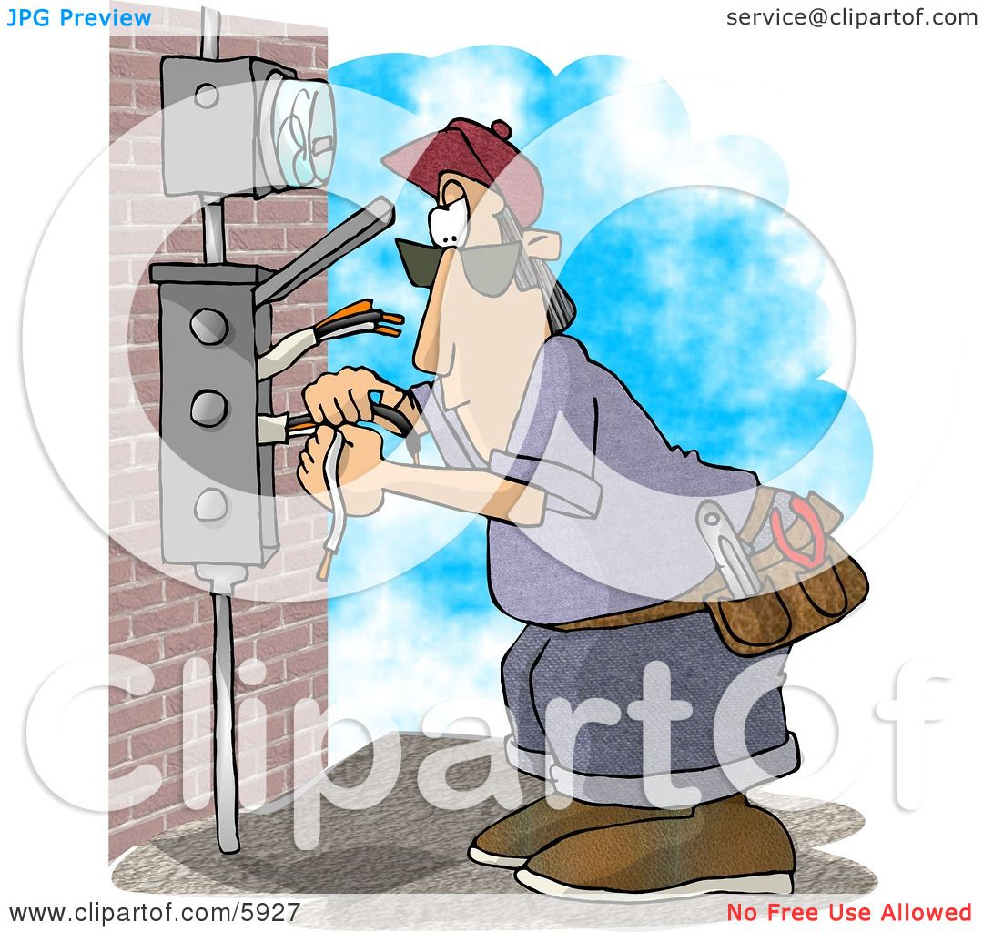 Electrician Wiring A Brick Building Clipart Picture By