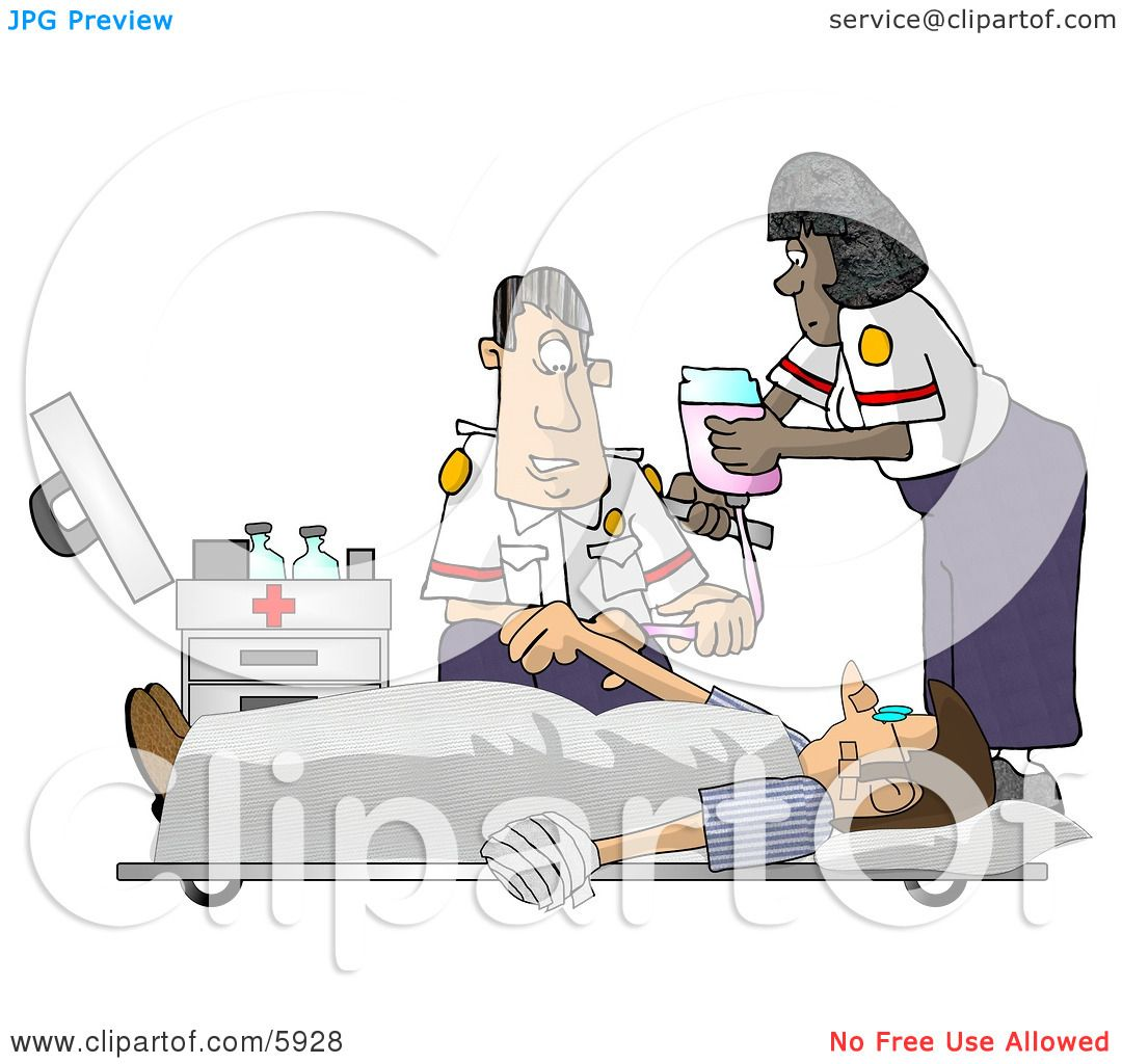 Emergency Medical Technicians (EMTs) Treating a Patient Clipart ...