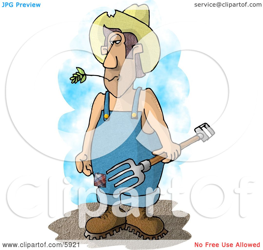 Farmer with a Pitchfork Clipart Picture by Dennis Cox #5921