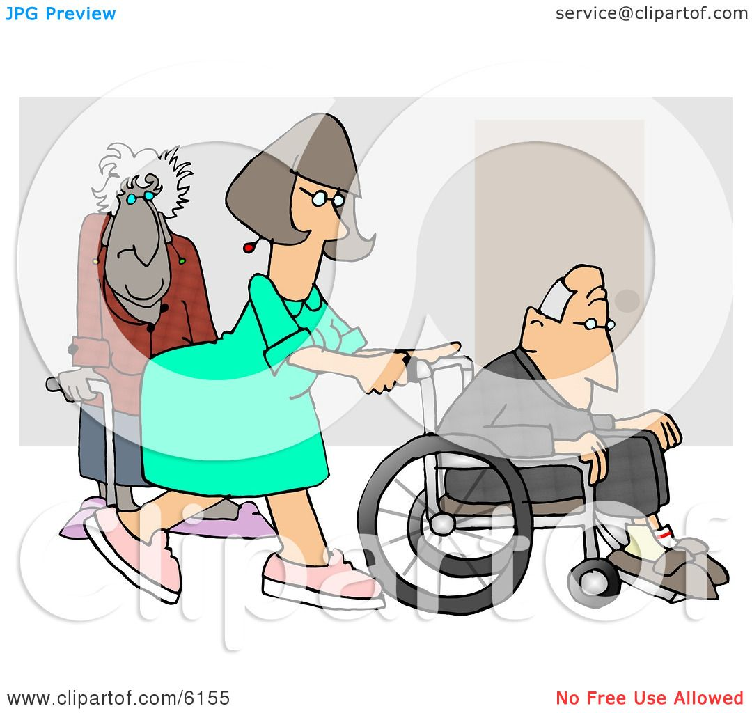 Female Nurse Pushing A Senior Man S Wheelchair Past An Old