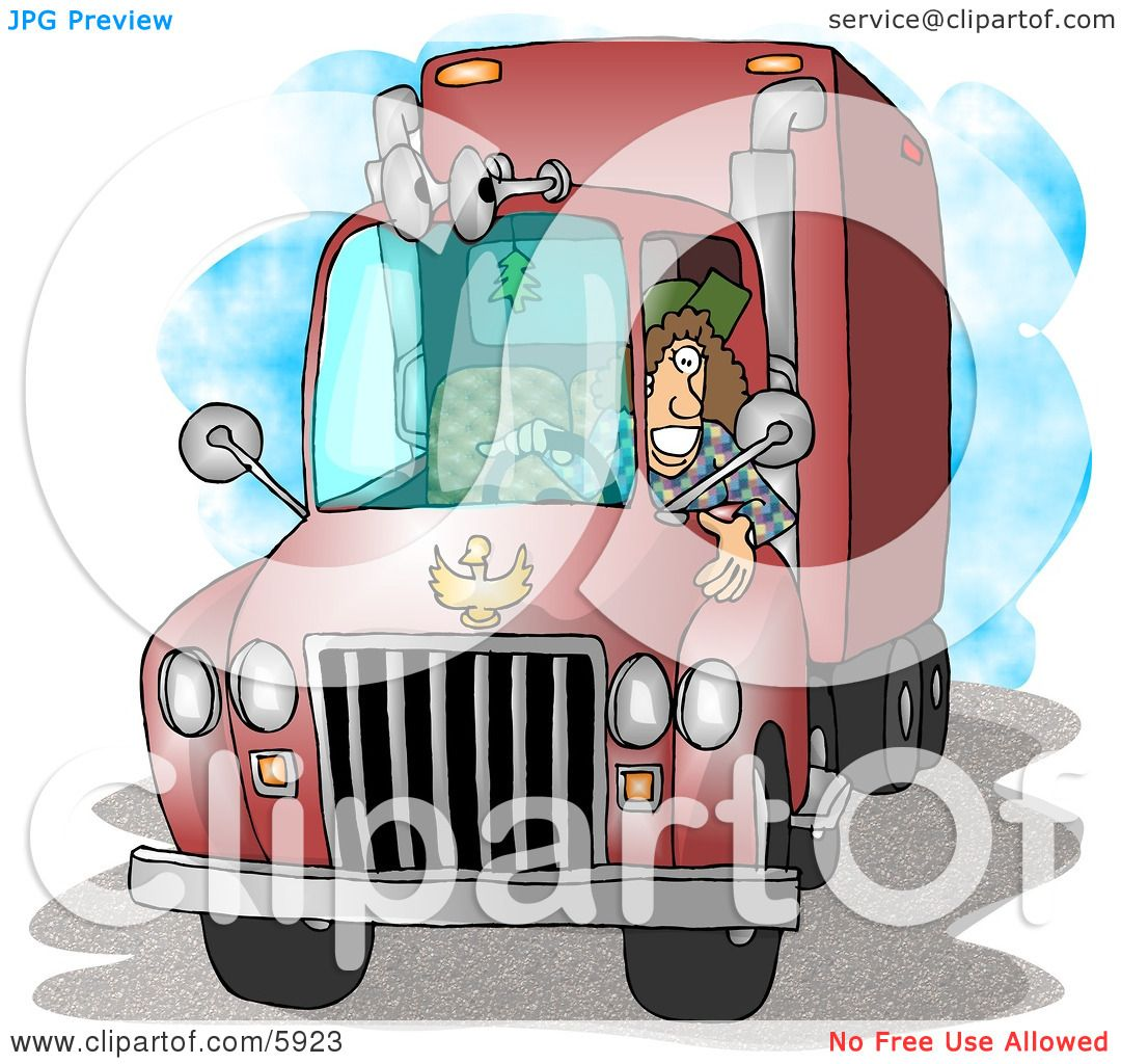 Female Trucker Driving An 18 Wheeler Big Rig Clipart
