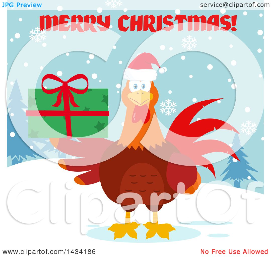 Flat Design Style Clipart Of A Merry Christmas Greeting Over A