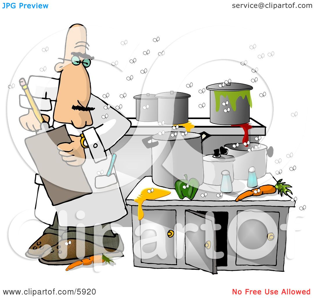Food Health Inspector Inspecting A Dirty Kitchen At A