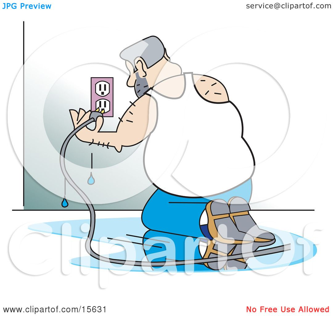Foolish Man Kneeling In A Puddle Of Water And Plugging An ...