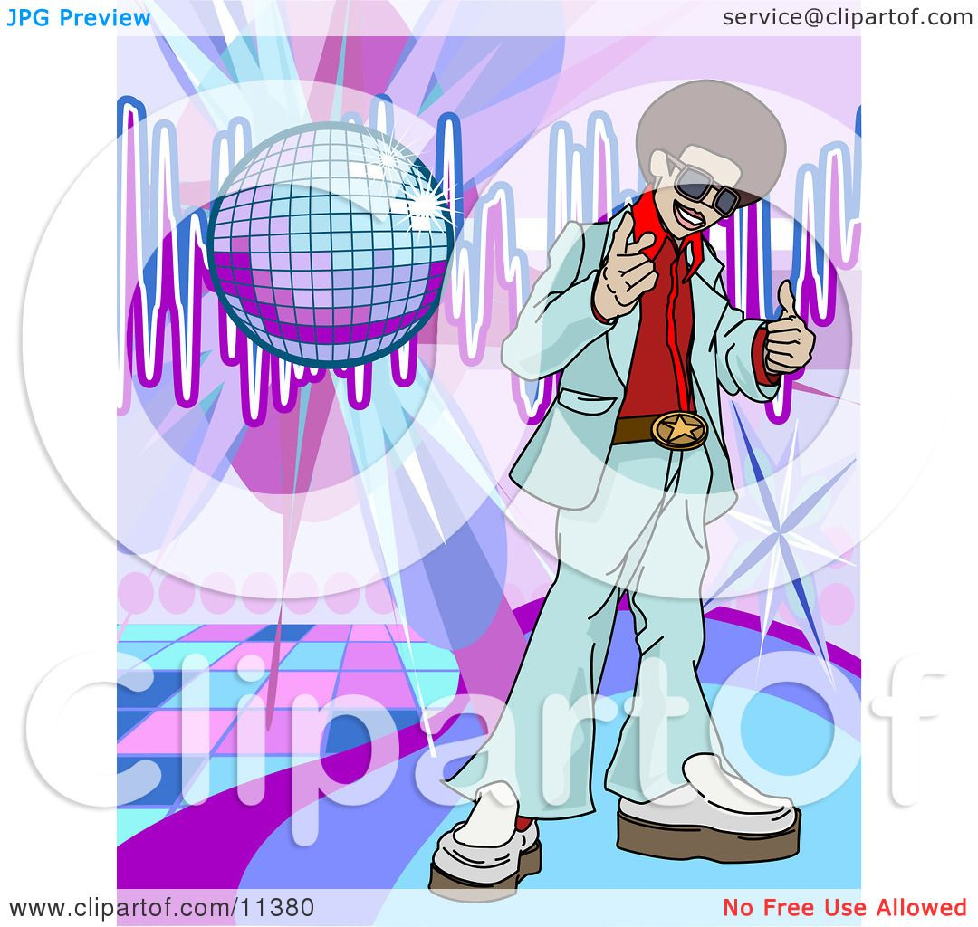 funkster man with an afro standing on a dance floor under a disco