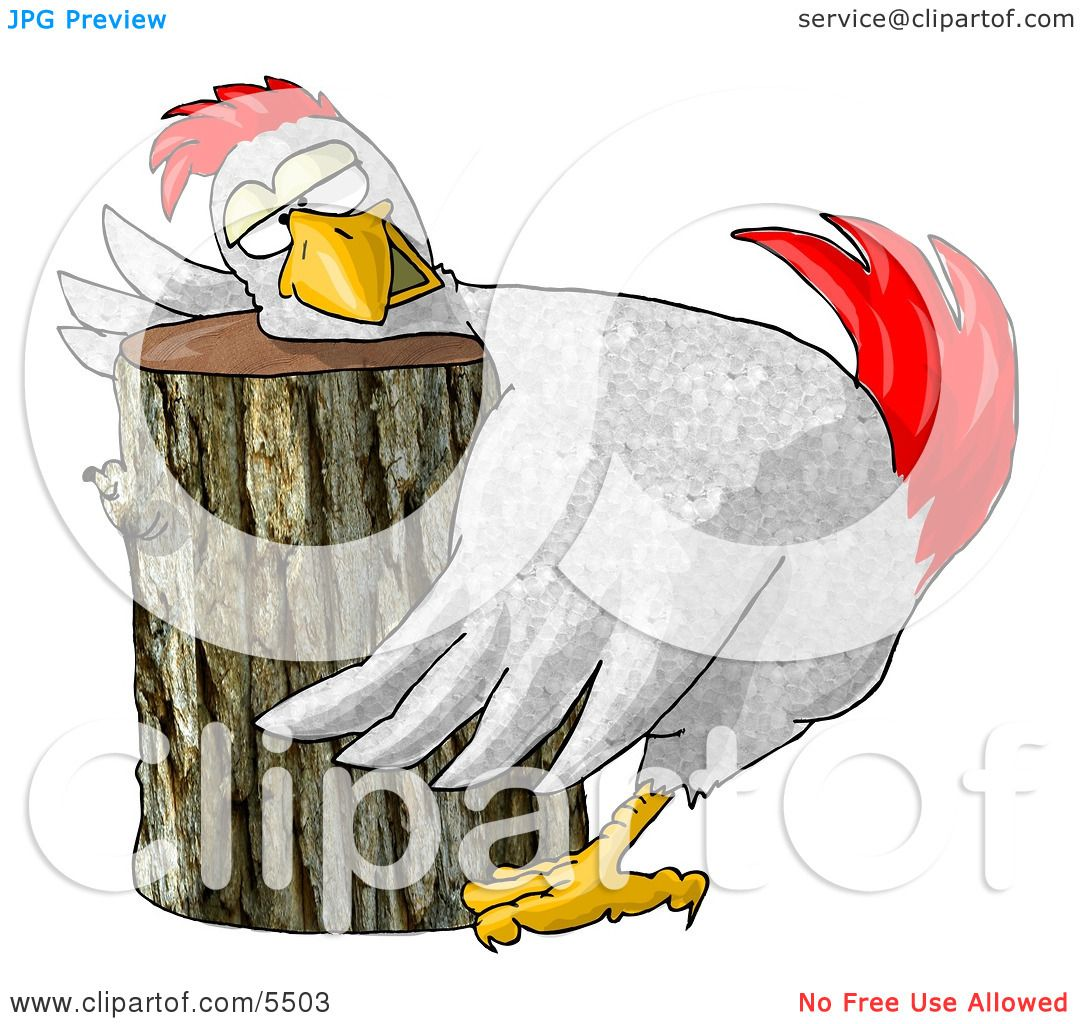Funny Chicken On a Chopping Block Clipart Illustration by ...