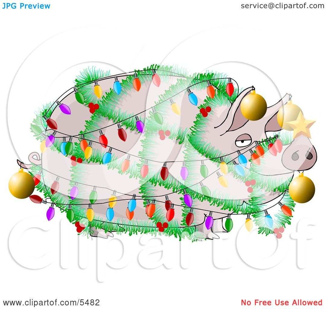 funny pig decorated with christmas lights and ornaments clipart