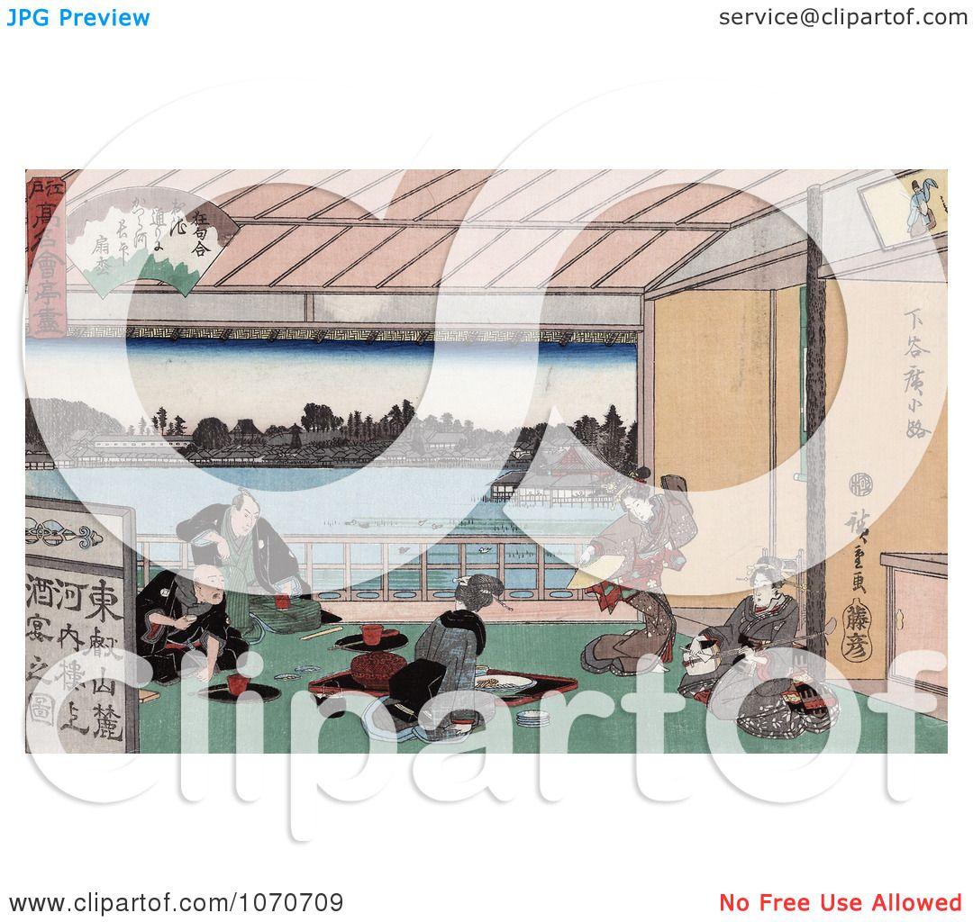... and Playing Music - Royatly Free Historical Stock Illustration by JVPD: www.clipartof.com/portfolio/jvpd/illustration/geisha-women...