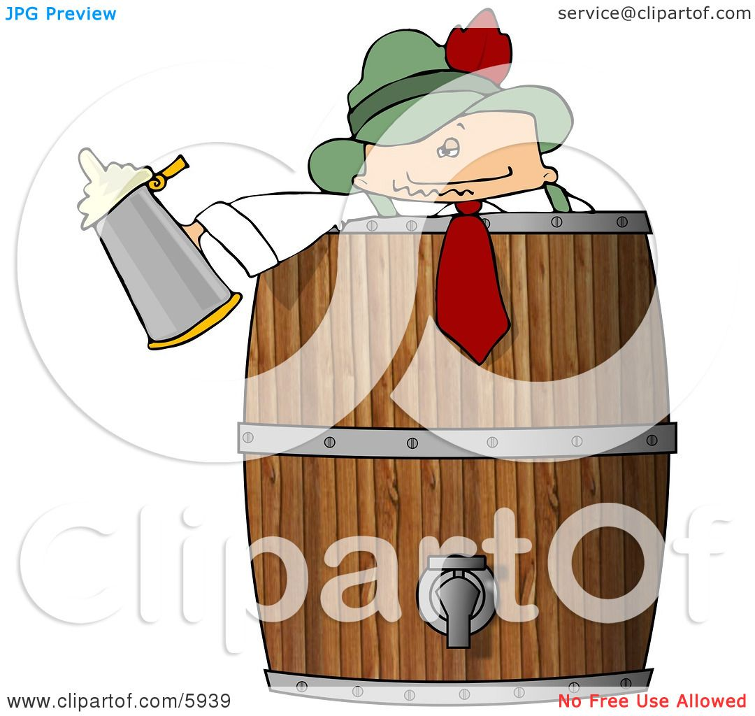 German Man Celebrating Oktoberfest with Lots of Beer Clipart ...
