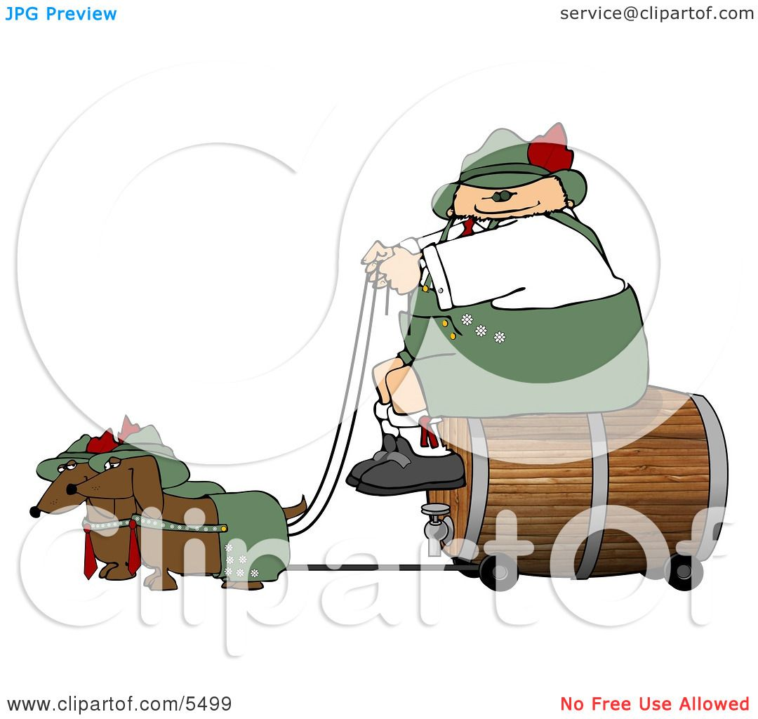 German Man Transporting A Wooden Barrel Keg Of Beer To A Party Clipart