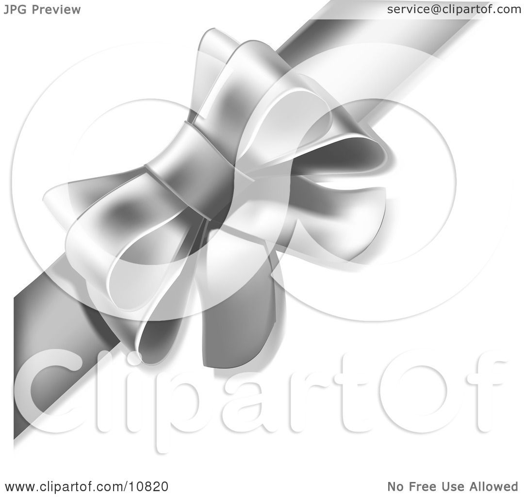 Gift Present Wrapped With a Silver or Grey Bow and Ribbon Clipart Illustration by Leo Blanchette