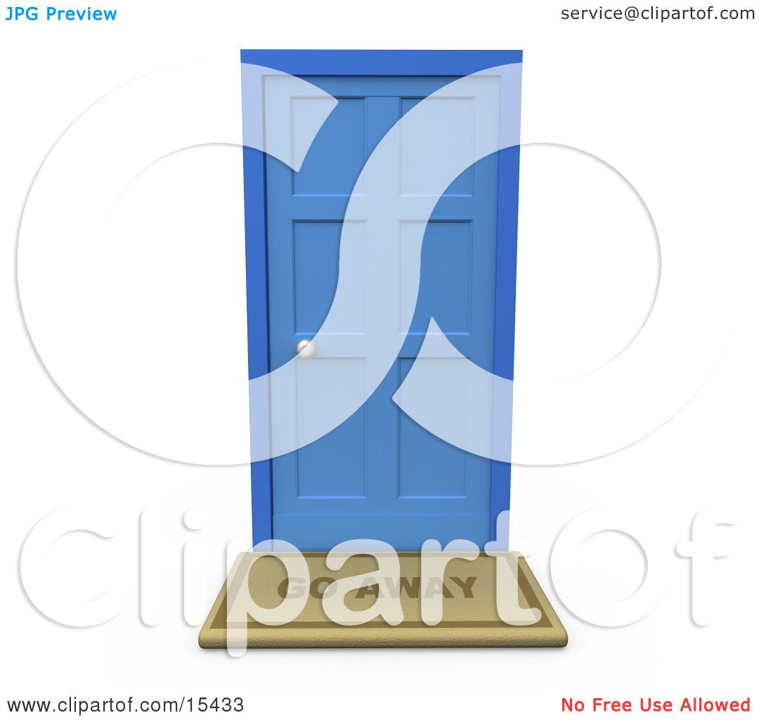 Go Away Door Mat In Front Of A Closed Blue Door Clipart