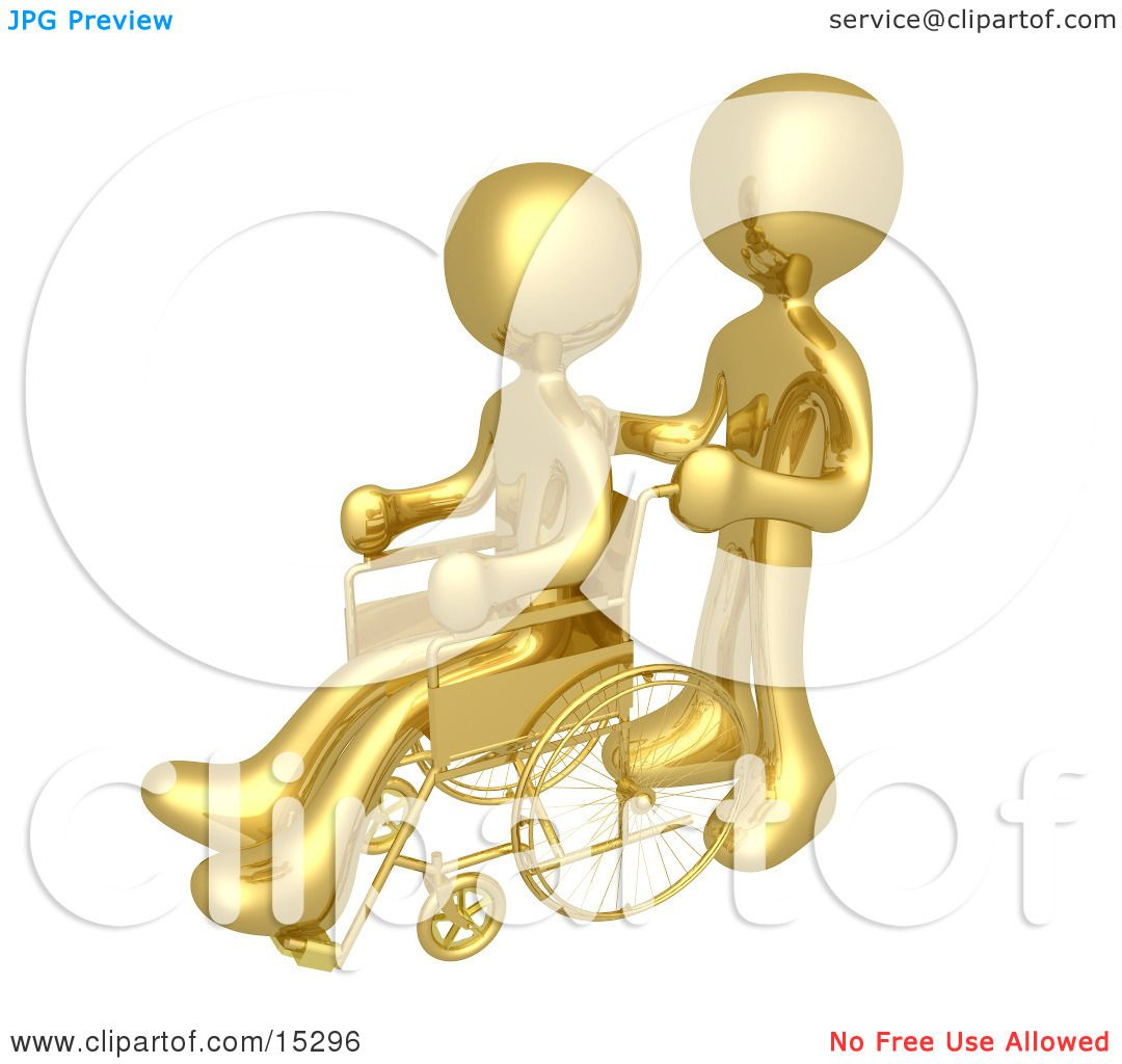 Gold Person Pushing Another Person In A Wheelchair In A