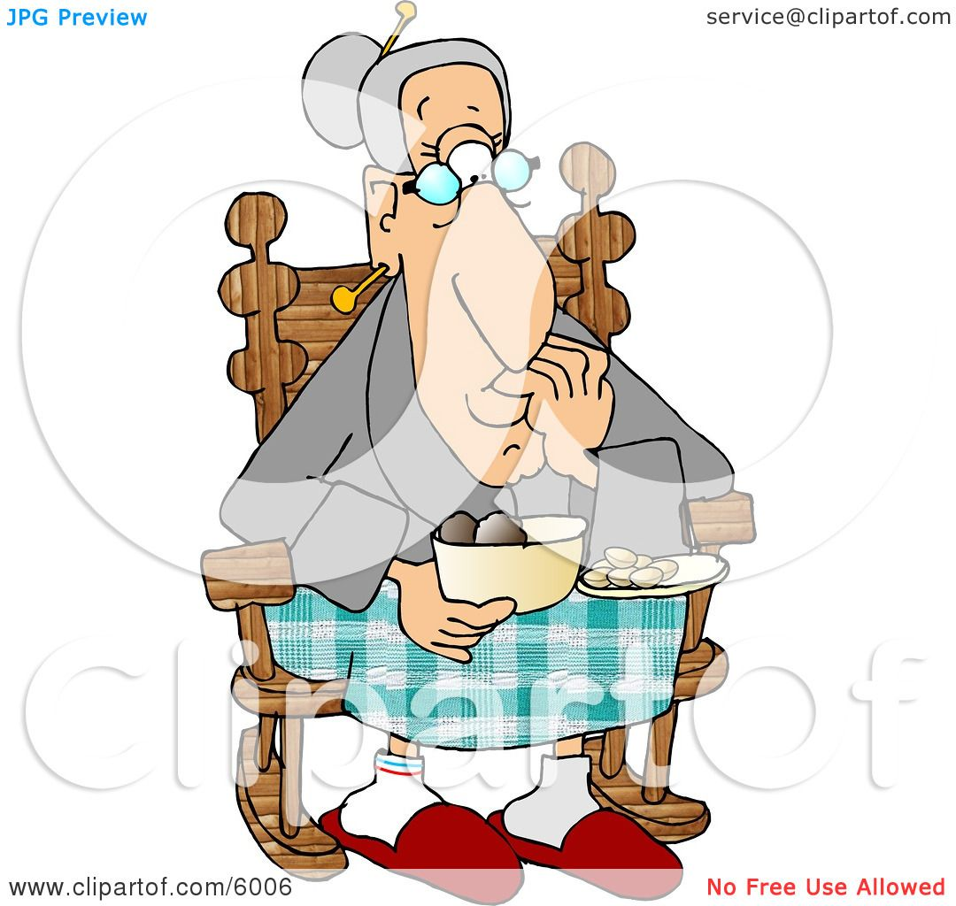 Grandma Eating Food In Her Rocking Chair Clipart Picture By Djart 6006