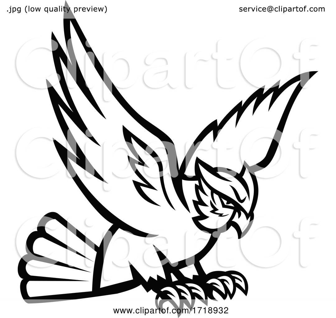 Great Horned Owl Swooping Right Mascot Black and White by ...
