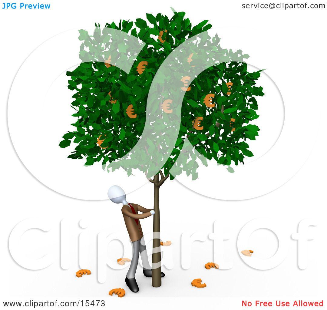 greedy businessman shaking money off of a tree that grows euros rh clipartof com Cartoon Money Clip Art Money Bag Clip Art