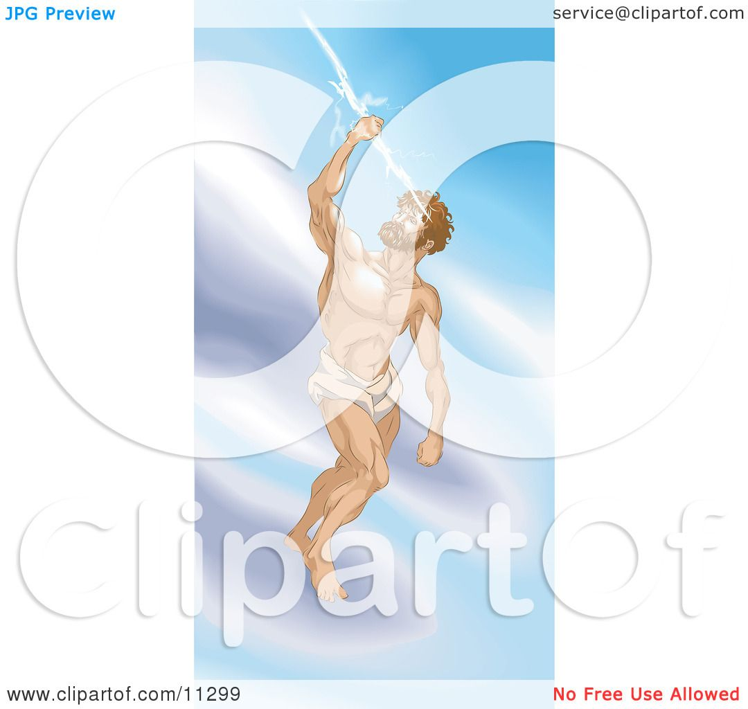greek god zeus standing on a cloud and grasping a thunderbolt