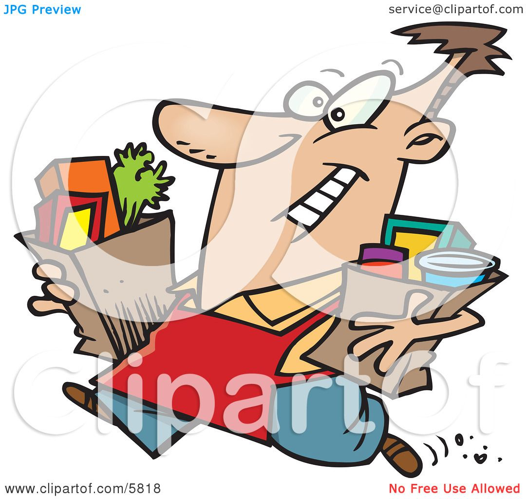 grocery store employee carrying groceries out to a car for a rh clipartof com grocery store clipart black and white grocery store shelves clipart
