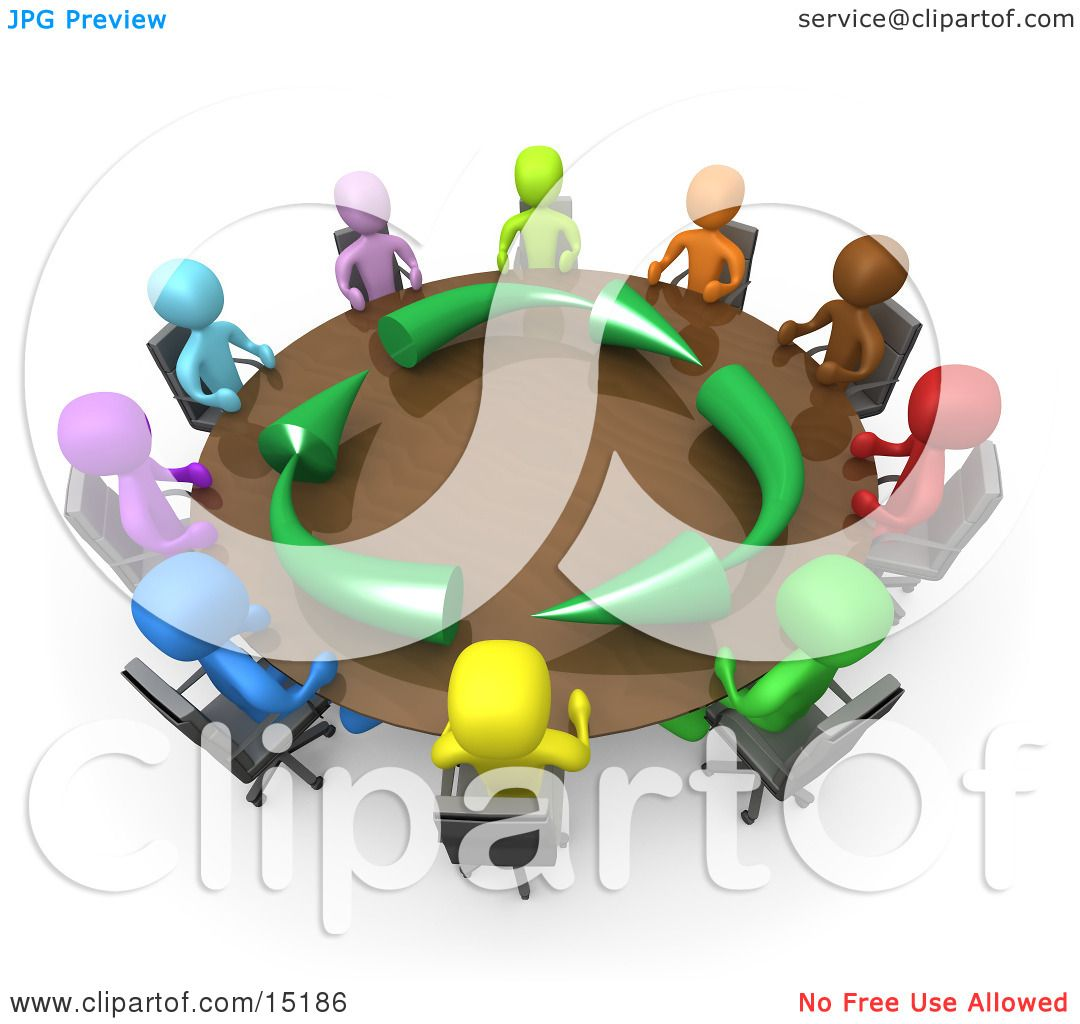 Group Of A Diverse And Colorful Group Of People Seated And Holding - Round table clip art