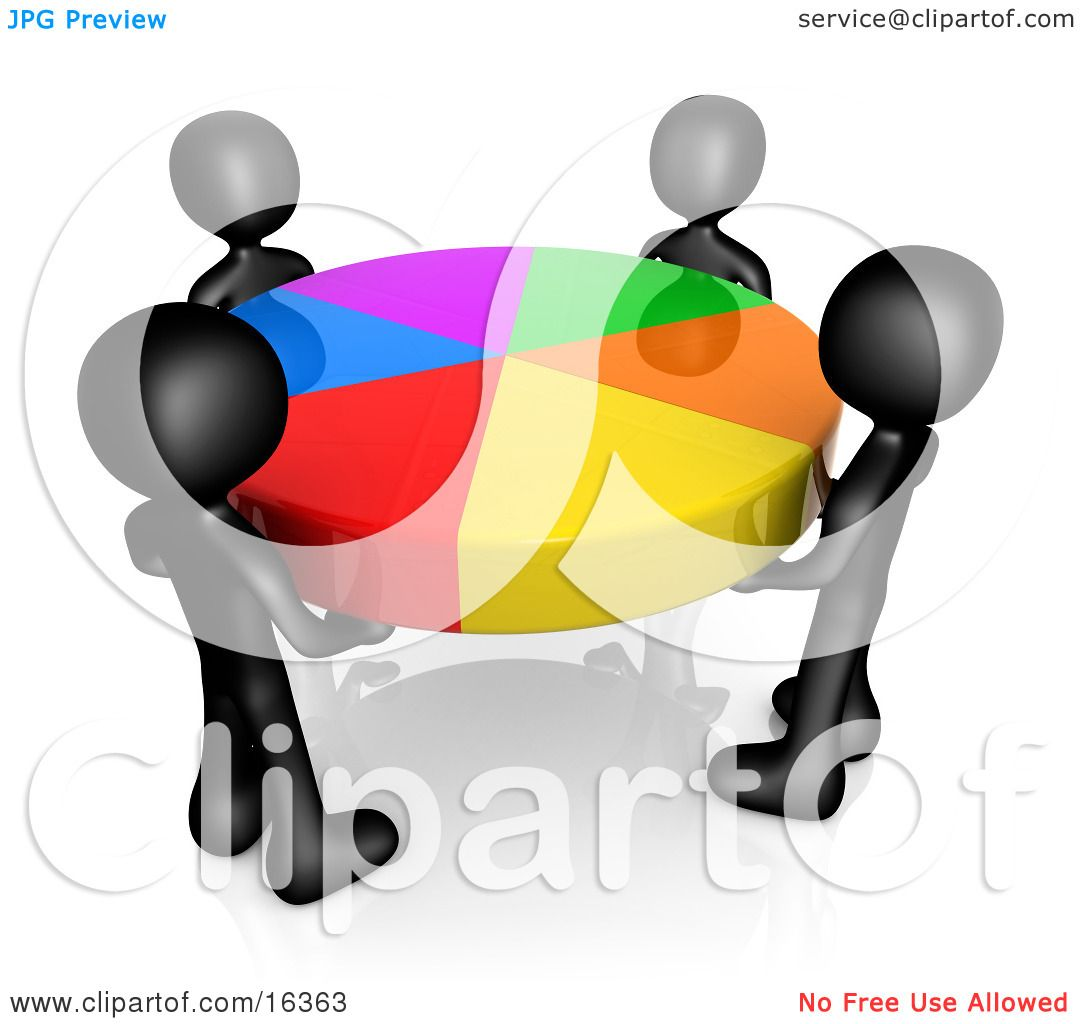 Group Of Four Black People Holding A Colorful Pie Chart Clipart ...