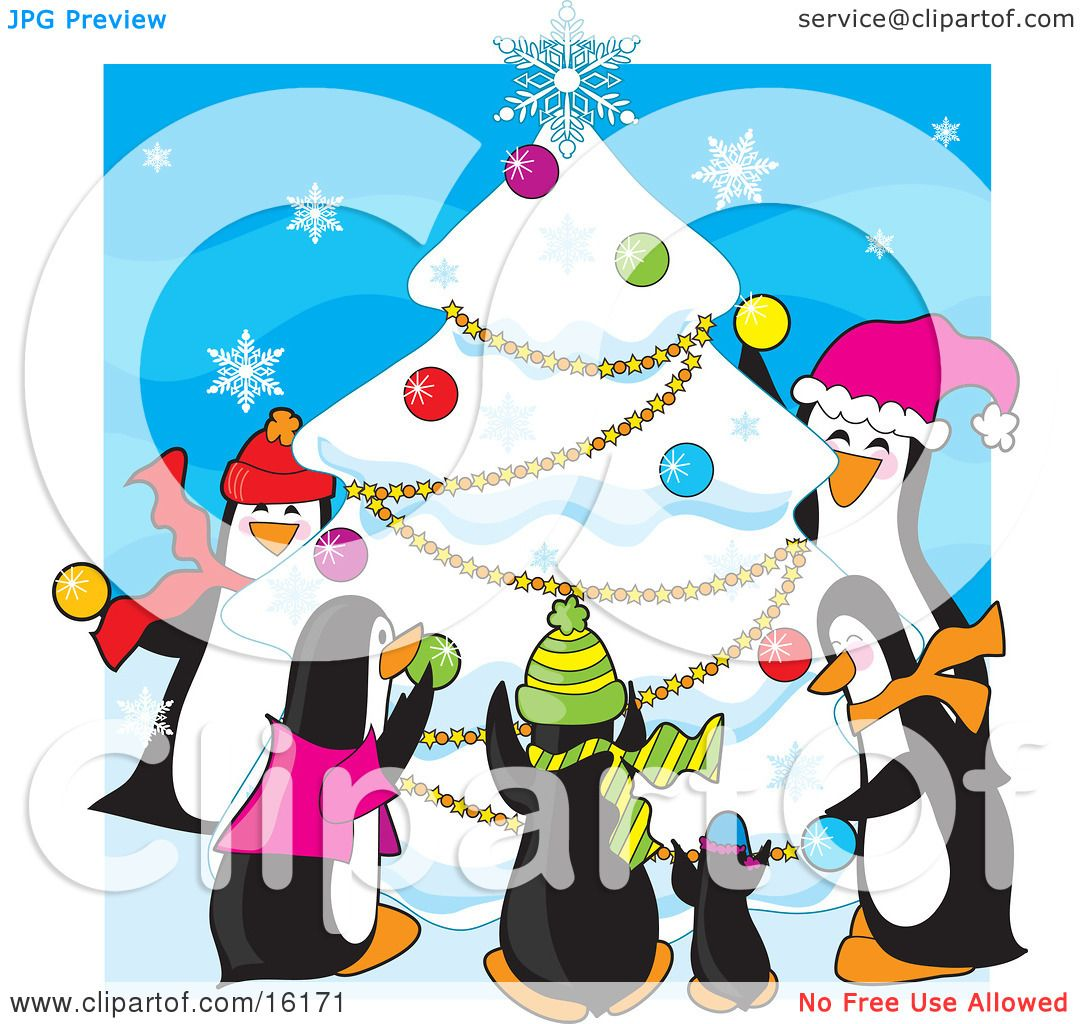 Decorating With Hats Group Of Happy Penguins Wearing Scarves And Hats While Decorating