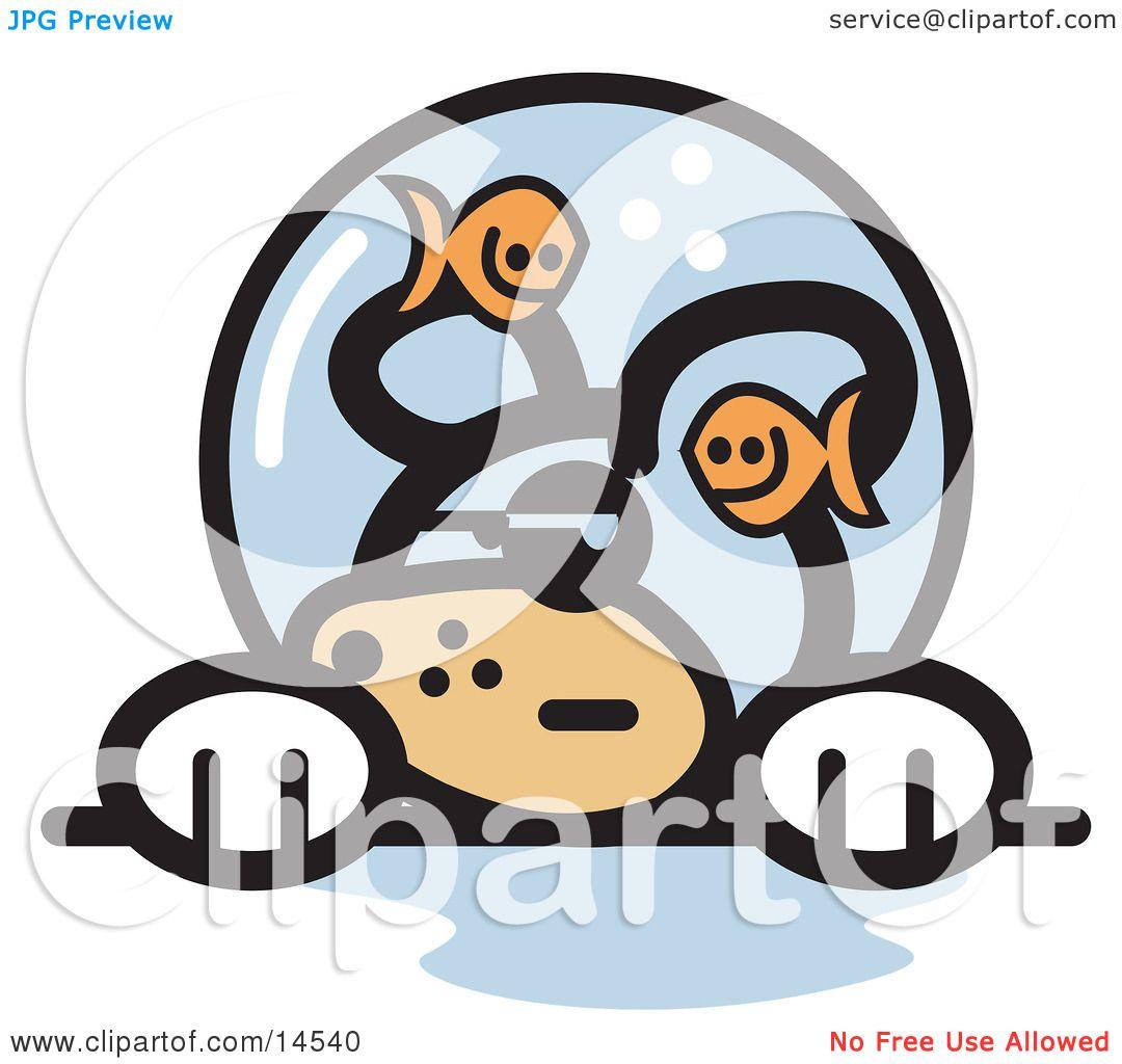 Grumpy Dog With Fish Making Fun Him Fishbowl Stuck His Head