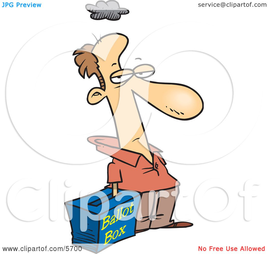 Grumpy Voter With His Hand in a Ballot Box - Stuffing the ...