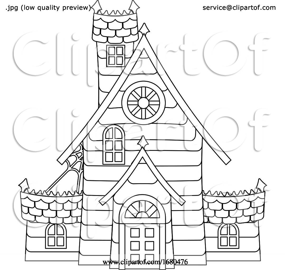 Halloween Haunted House Cartoon in Outline by ...