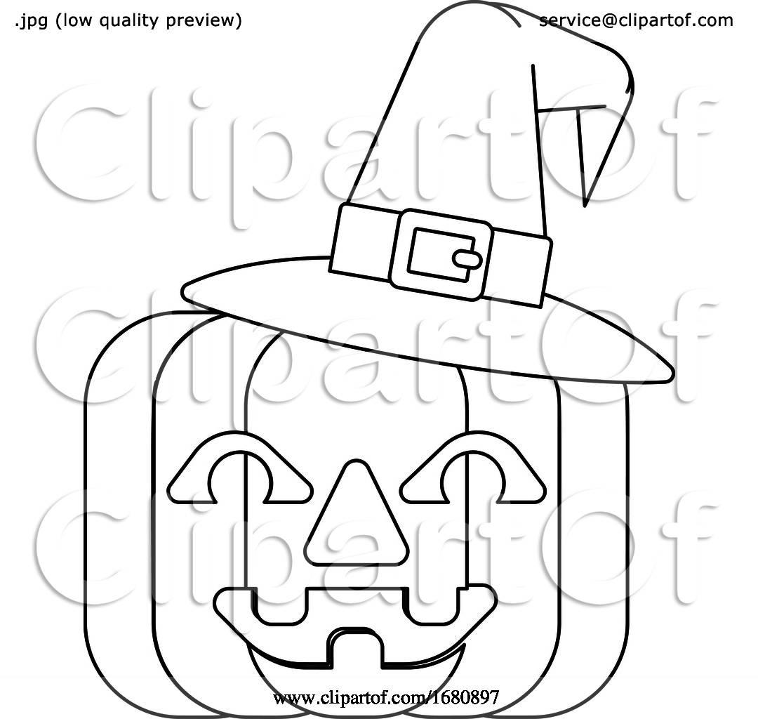 Halloween Witch Hat Pumpkin In Outline By Atstockillustration 1680897