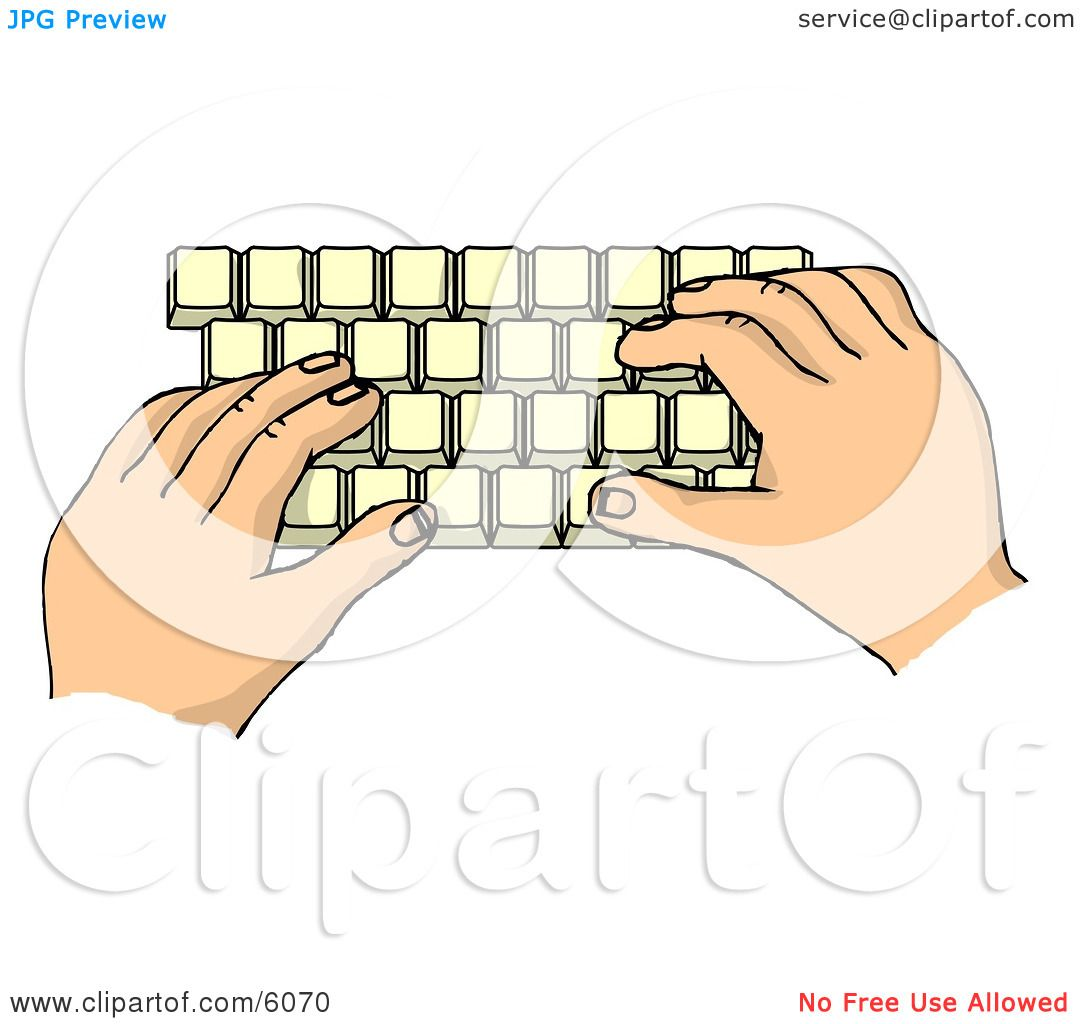 Hand Typing On Keyboard Clip Art