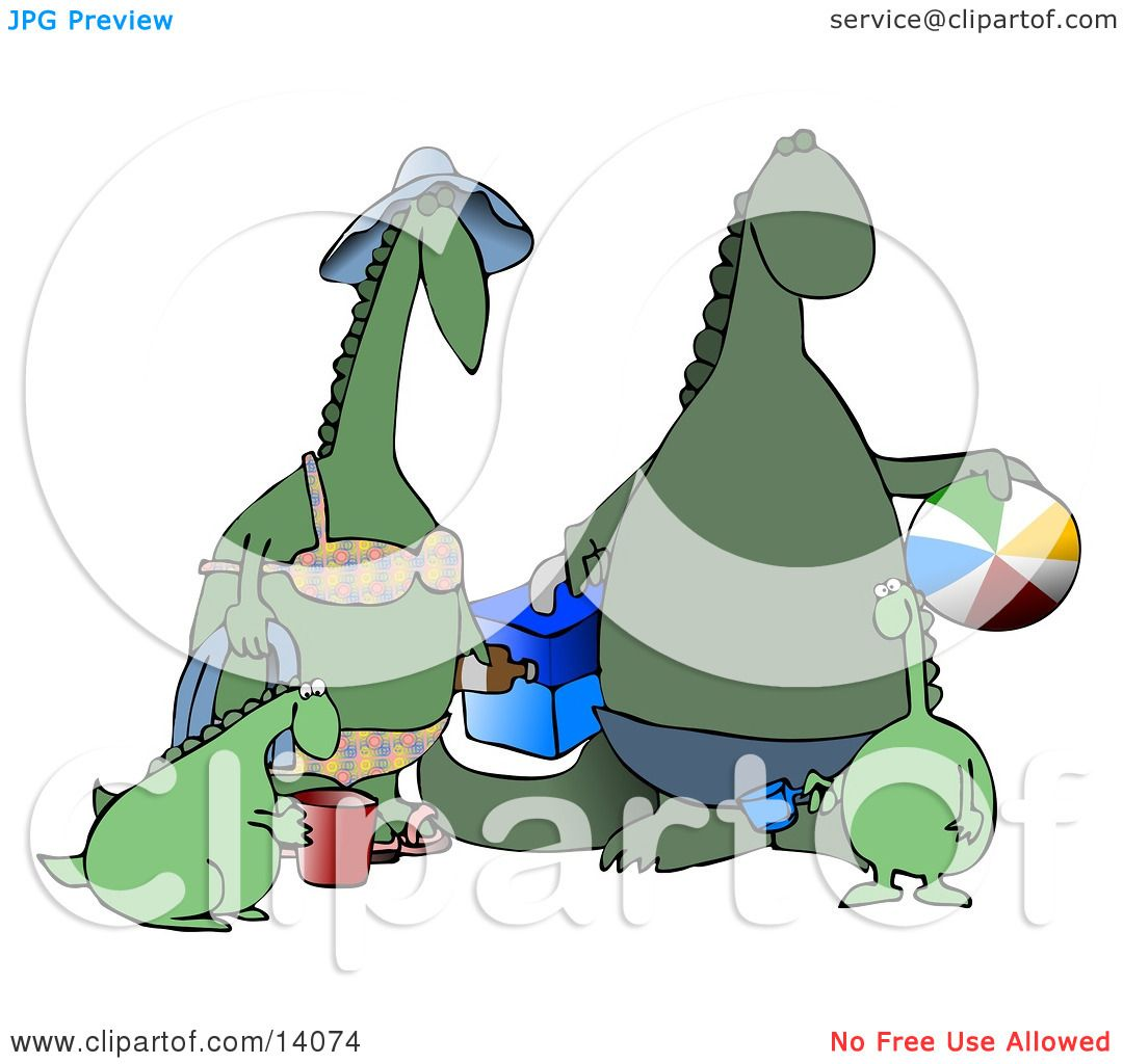 Happy Green Dinosaur Family Having Fun At The Beach Clipart