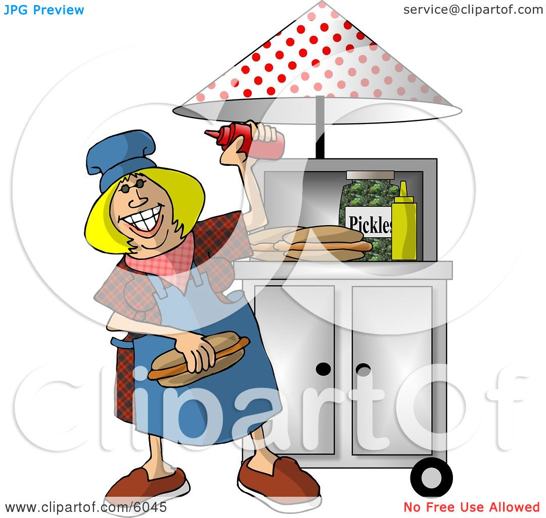 Happy Lady Working At A Portable Roadside Hot Dog Stand