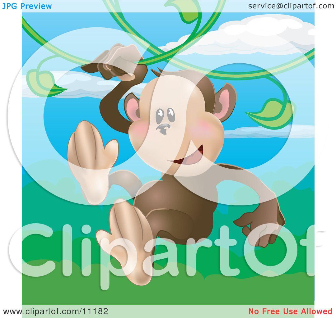 happy little monkey swinging on vines in a rainforest clipart