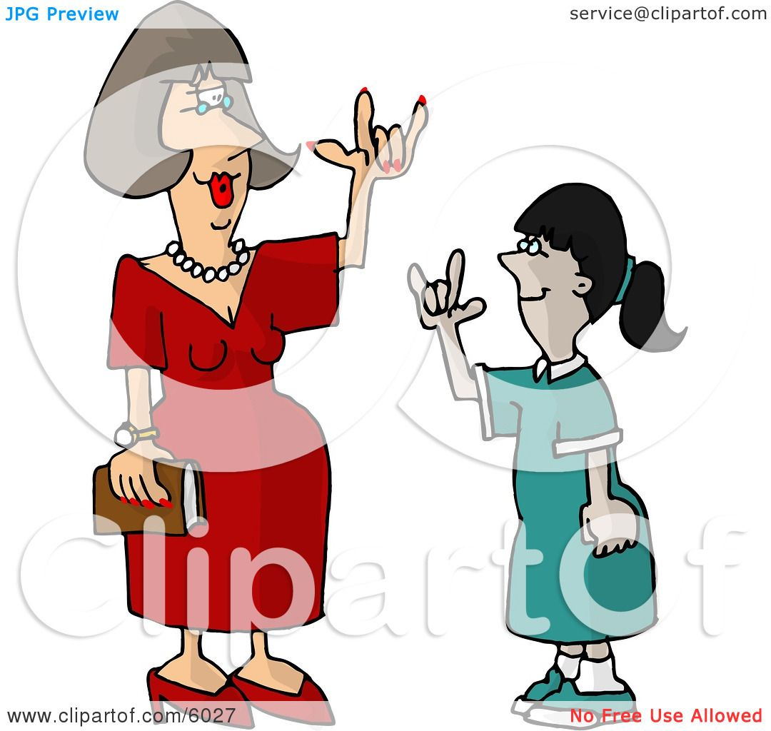 hearing impaired teacher using sign language with a student clipart rh clipartof com english language clipart sign language clip art dictionary