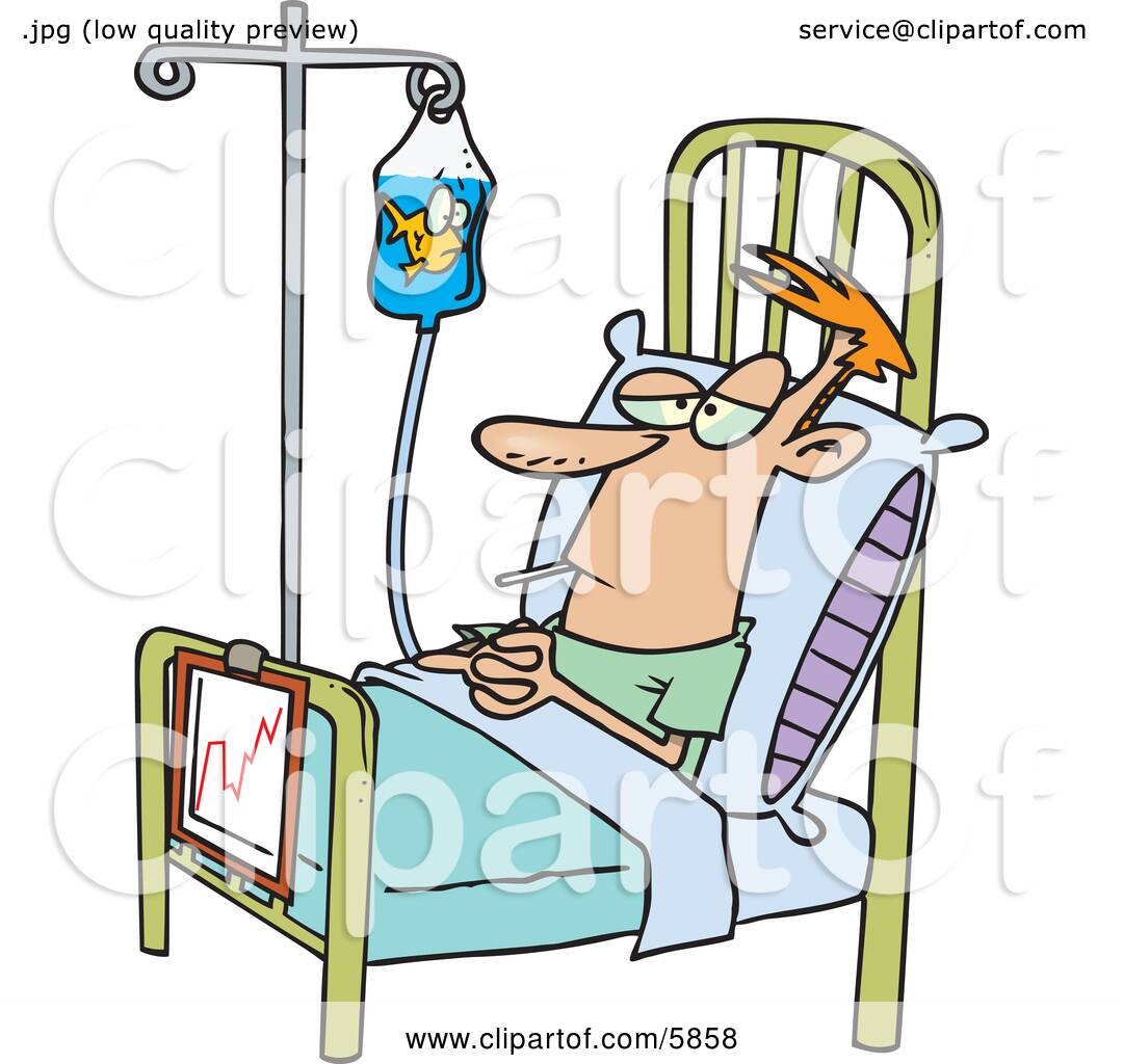 Female Hospital Patient Cartoon Hospital patient in a bed,