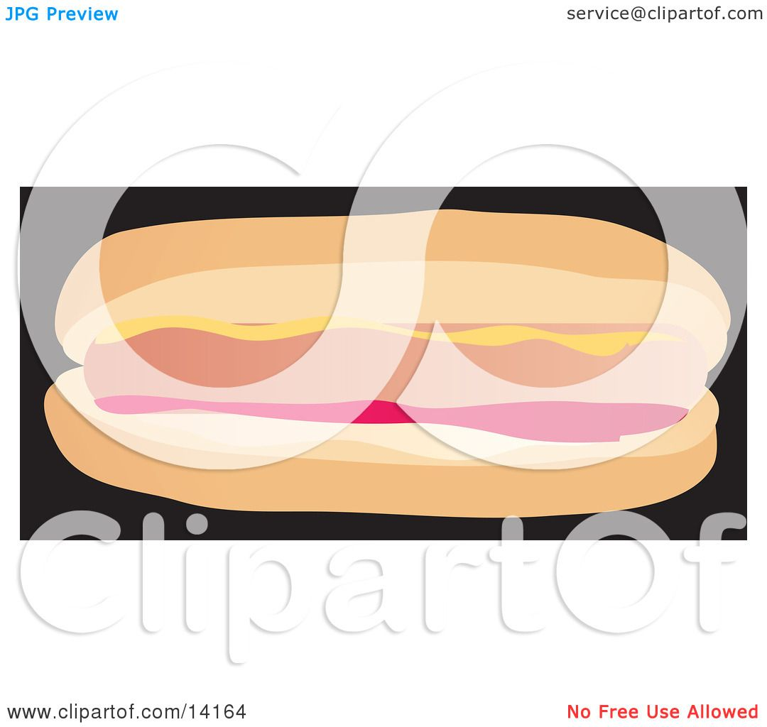 Hot Dog With Mustard And Ketchup In A Bun Food Clipart