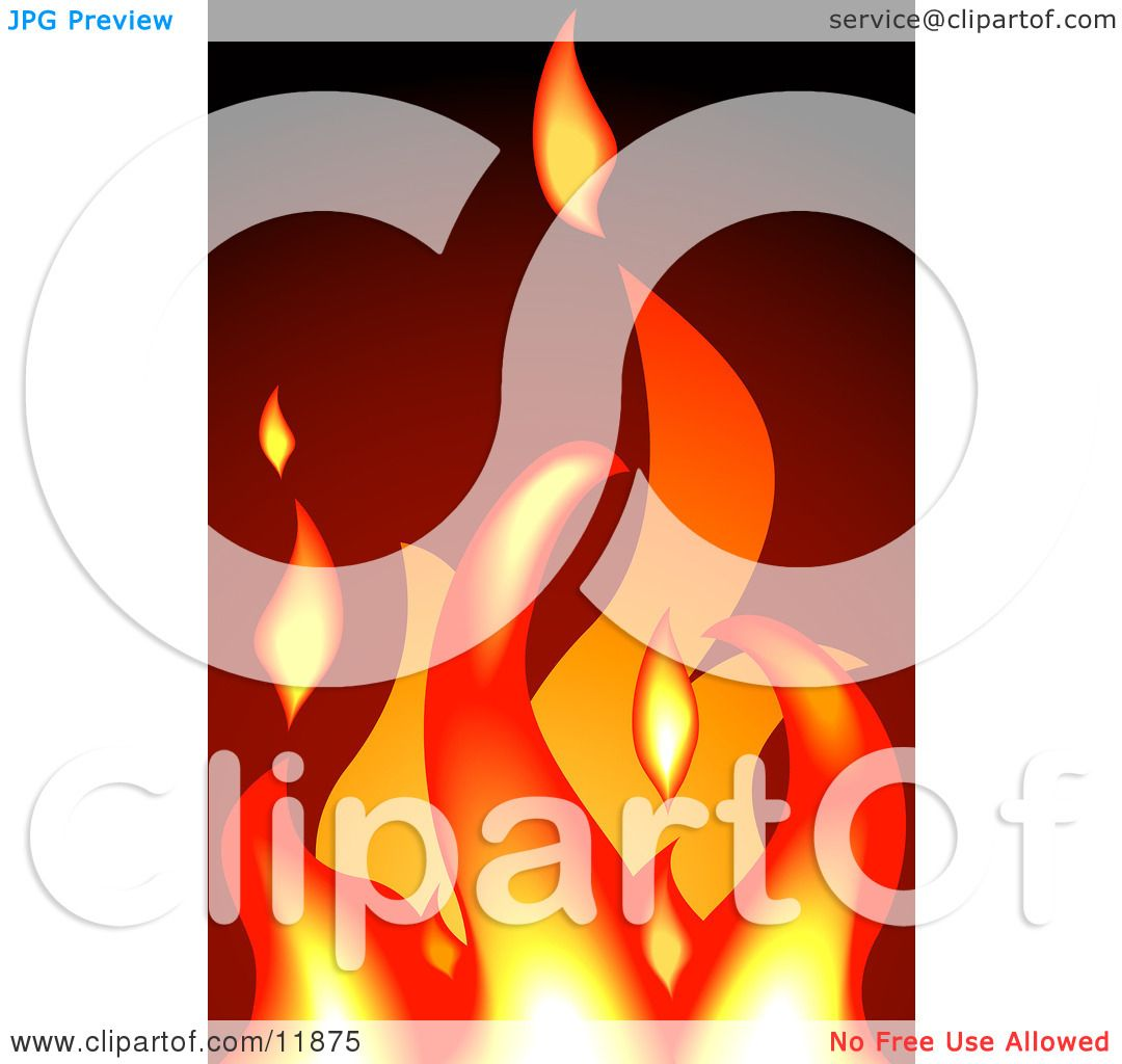Hot Flames In A Fire Clipart Illustration By Geo Images 11875