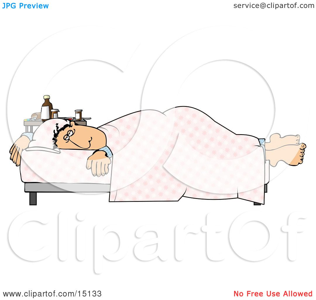 Ill Man Lying On A Hospital Bed Near Table Of Medicine Clipart