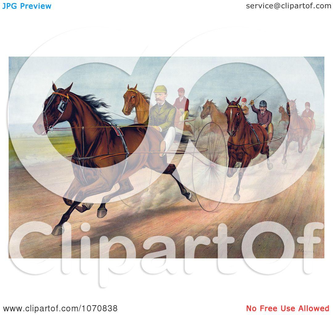 Horse Race Track Cartoon Group of men racing horses