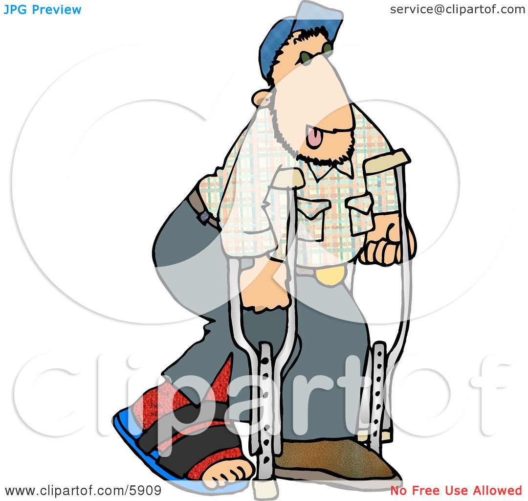 Injured Man Walking On Crutches with a Broken Leg Clipart Picture ...