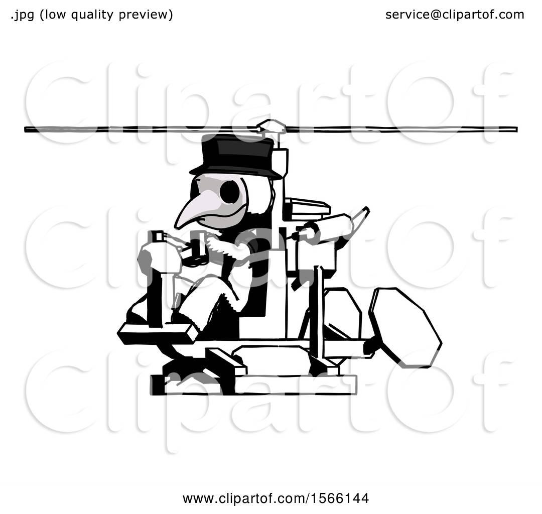 180b24d912 Ink Plague Doctor Man Flying in Gyrocopter Front Side Angle View by Leo  Blanchette