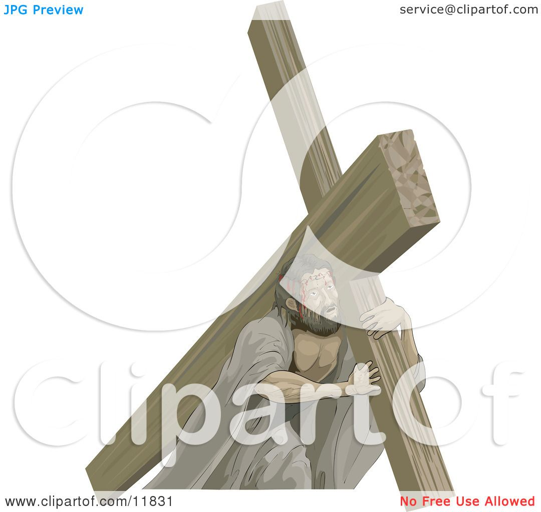 Jesus Carrying the Cross Clipart Illustration by ...