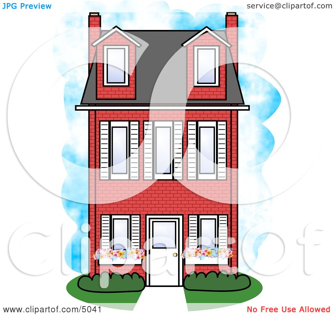 large three story red brick house clipart by djart 5041 rh clipartof com House Clip Art Hay House